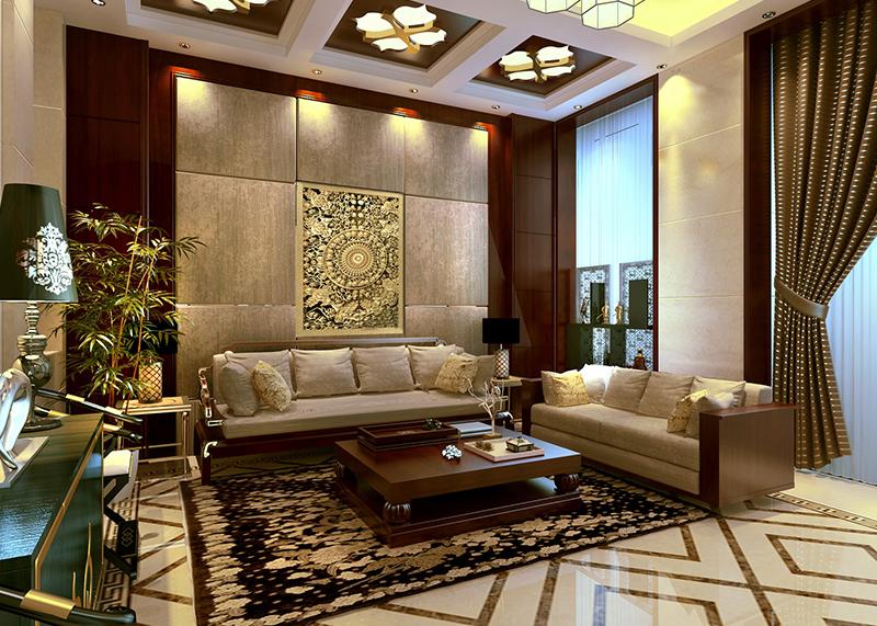 金东别墅 300平  中式风格